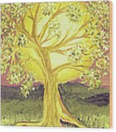 Heart Of Gold Tree By Jrr Wood Print