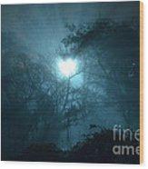 Heart Of Light On A Foggy Night Sky Wood Print