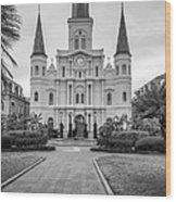 Heart Of The French Quarter Monochrome Wood Print