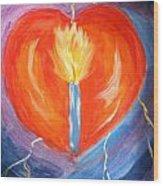 Heart On Fire Wood Print