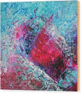 Heart On Ice Abstract Blue Magenta 8x10 Painting Original Contemporary Modern Heart Painting Wood Print