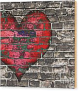 Heart On The Old Wall Wood Print