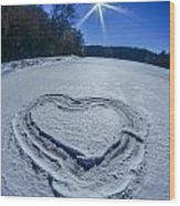 Heart Outlined On Snow On Topw Of Frozen Lake Wood Print