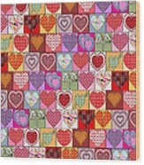Heart Patches Wood Print