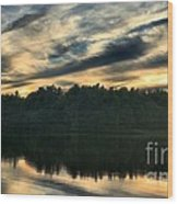 Heart Pond Sunset Wood Print