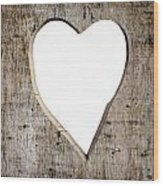 Heart Shape Carved Into A Plank Wood Print