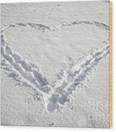 Heart Shape In Snow Wood Print