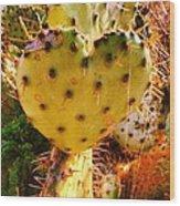 Heart Shaped Cactus Wood Print