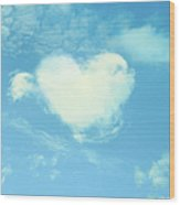 Heart-shaped Cloud Wood Print