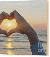 Heart Shaped Hands Framing Ocean Sunset Wood Print