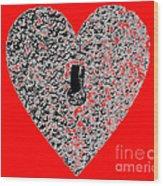 Heart Shaped Lock - Red Wood Print