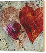 Hearts 10 Square Wood Print