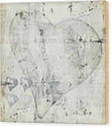 Hearts 13 Square Wood Print