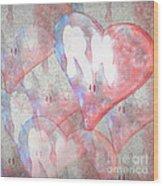 Hearts 15 Square Wood Print