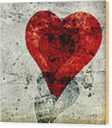 Hearts 3 Square Wood Print