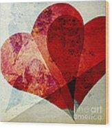 Hearts 5 Square Wood Print