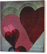 Hearts 9 Square Wood Print
