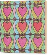Hearts A'la Stained Glass Wood Print