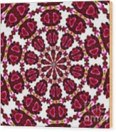 Hearts And Orchids Kaleidoscope Wood Print