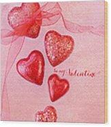 Hearts And Ribbon - Be Mine Wood Print