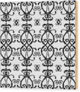 Hearts Black And White Wood Print