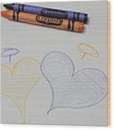 Hearts Crayola Crayons Artwork Wood Print