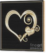 Hearts In Gold And Ivory On Black Wood Print