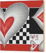 Hearts On A Chessboard Wood Print