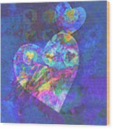 Hearts On Blue Wood Print by Ann Powell