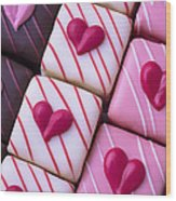Hearts On Candy Wood Print