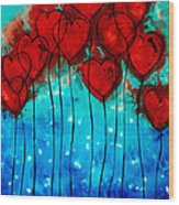 Hearts On Fire - Romantic Art By Sharon Cummings Wood Print