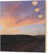 Hearts Sunset Wood Print by Augusta Stylianou