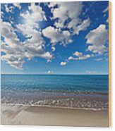 Heavenly Beach Under The Blue Sky Wood Print