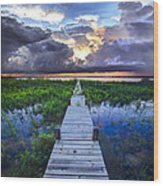 Heavenly Harbor Wood Print by Debra and Dave Vanderlaan