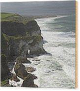 Heavy Surf On The Irish Coast Wood Print