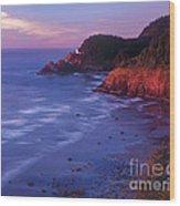 Heceta Head Lighthouse At Sunset Oregon Coast Wood Print