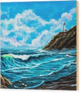 Heceta Head Lighthouse Oregon Coast Original Painting Forsale Wood Print