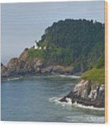 Heceta Head Overlooking The Pacific Ocean Wood Print