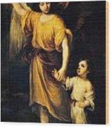 Heiliger Schutzengel  Guardian Angel 12 Oil Wood Print