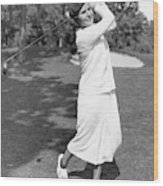Helen Hicks Playing Golf Wood Print