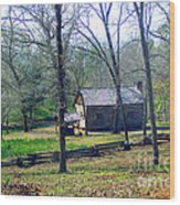 Helen Lee's Pioneer Log Cabin Wood Print