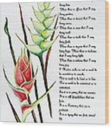 Heliconia Poem Wood Print