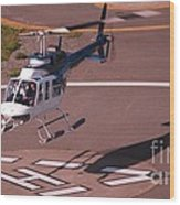 Helicopter Landing In Victoria, British Columbia Wood Print