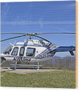 Helicopter On A Mountain Wood Print