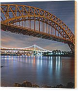 Hell Gate And Triboro Bridge By Night Wood Print