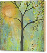 Hello Sunshine Tree Birds Sun Art Print Wood Print by Blenda Studio