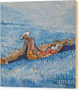 Hello Young Lovers In Blue Wood Print
