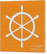 Helm In White And Orange Wood Print