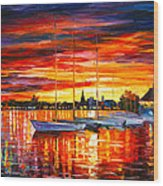 Helsinki Sailboats At Yacht Club Wood Print by Leonid Afremov
