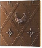 Hen Shaped Doorknob On A Brown Metal Doors Wood Print